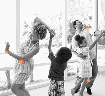 Family Dancing with hot spots for pain