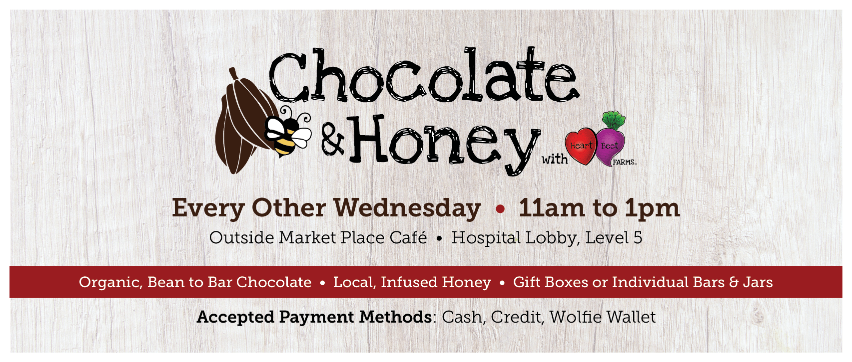 Heartbeet Farms Chocolate and Honey Tasting - Bi-weekly on Wednesday starting October 23 from 11am to 1pm
