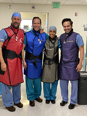 Shown are Dr. Jonathan Buscaglia, Dr. Juan Carlos Bucobo 4th year fellow Dr. Vineet Rolston and Dr. Lionel D'Souza.