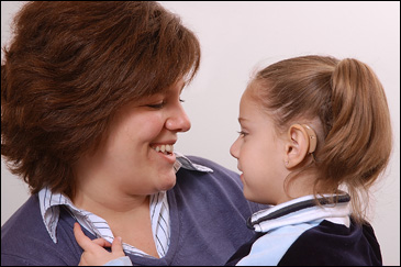 Cochlear Implant patient with her mom