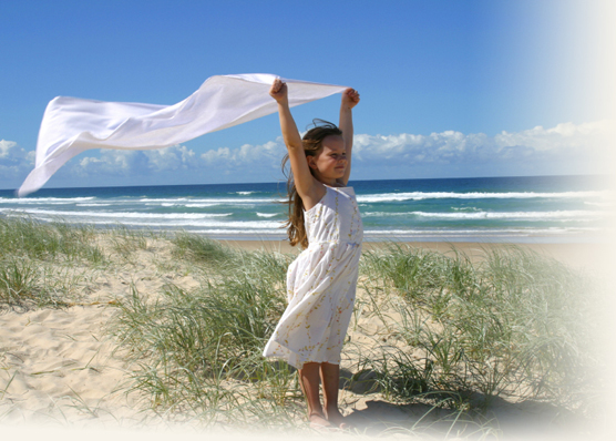 Young Girl on Beach Image