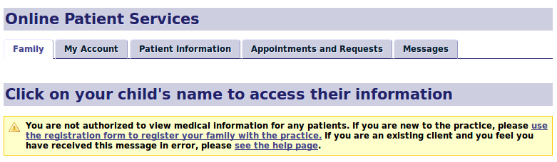 On-line Patient Services Screenshot