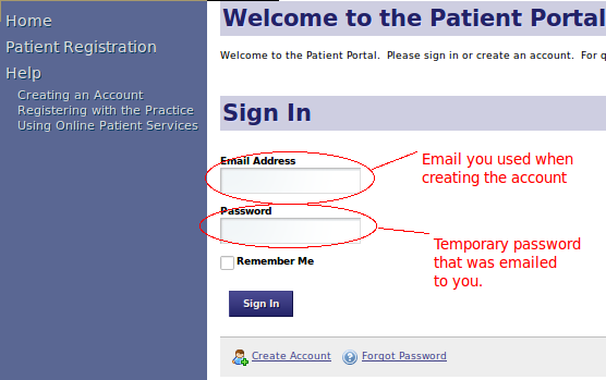 First Log-in, Sign-in Portal