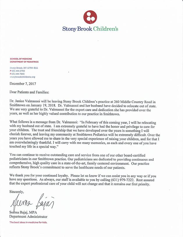 Office updates stony brook medicine dr valmassoi departure letter spiritdancerdesigns Image collections